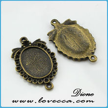 Silver Bezel Cameo Setting Charm Pendant Blanks, Bezel Cabochon Blank, 41mm x 48mm Cameo Pendant, Fits 40mm Round Cabochon
