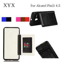 High quality leather case for alcatel one touch, cover case for alcatel pixi 3 4.5