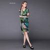 The new fall and summer 2015 big yards dress clearance standing in Europe and the European high-grade peony printed silk dress