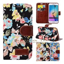 wholesale alibaba leather cell phone cover case, For Samsung Galaxy S6 Edge Wallet Leather Case