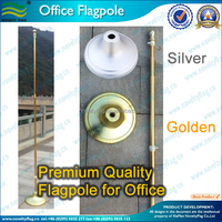 Golden Silver color high 235cm quality aluminium flagpole for indoor