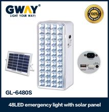 New Solar Rechargeable led emergency light,plastic housing,48 pcs led,