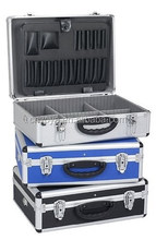 Aluminium case tool box for the individual storage of tools, measuring devices, cassettes, CD's, laptops, coins