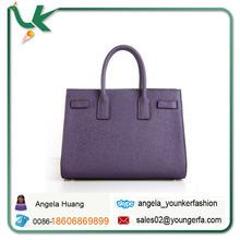 Genuine Leather 2014 New Hot designed Brand Dark Purple Original Leather Litchi Pattern Women Handbag Wholesale