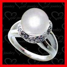 sterling silver pearl hand setting ring with low price and high end quality