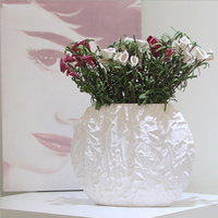 Simple white ceramic vase ornaments modern home fashion flower table decorations