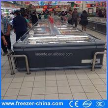 supermarket refrigerator island display freezer curved glass freezer etl for seafood