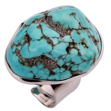 European and American fashion natural turquoise ring