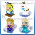 Mini qute kawaii 4 estilos sabio hawk congelada congelada muñeca princesa anna& elsa la olaf diamante de plástico bloquesdeconstrucción juguete educativo