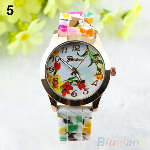 женщины мода кремния band цветок печати желе спортивные кварцевые наручные часы 1od5