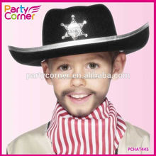 Black Felt Childs Sheriff Hat With Badge