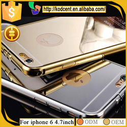 luxury aluminum metal bumper frame mirror phone case for iphone 6 4.7 inch