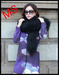 Mongolian Sheep Fur wrap muffler scarves headgear collar neck warmer scarf