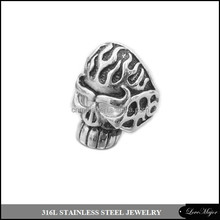 fire ghost skull design casting stainless steel jewelry ring for men