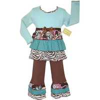 Hot Sale Baby Girls Outfits Kids Long Sleeve Green Print Clothes Set s Wholesale Children's Clothing Set
