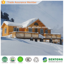 2015 New Design Prefab Wooden House with Terrace for Sking Resort