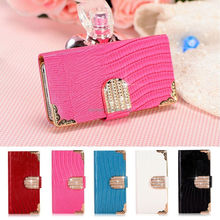 Luxury Bling Crystal Leather Wallet Magnetic Flip Case Cover for Samsung Galaxy Note2 N7100