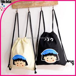 carton cute cotton canvas fashion drawstring backpack