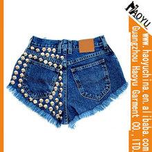 2014 spandex tachonado de mezclilla pantalones cortos de alta calidad del sexo corto de mezclilla pantalones vaqueros ( hys267)