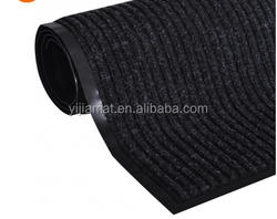 Black color smooth thin-ribbed door mat