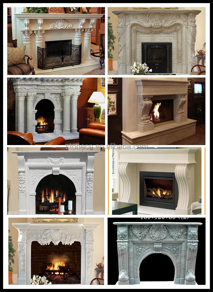Marmol blanco decoración del hogar de piedra chimenea chimeneas ...