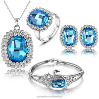 alloy white gold plated ladies wholesale costume jewelry sets with necklace and earrings