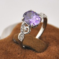 STOCK Mother Day Gift Ideas Fashion Jewelry Purple Crystal Romantic Silver Ring, Women Wedding Ring