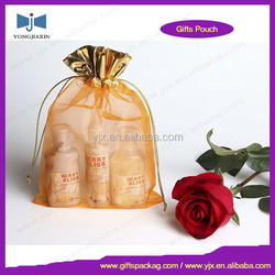 Wholesale organza gift bag with metallic drawstring