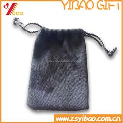 Custom Christmas drawstring gift bag/black coin purse with imprint logo