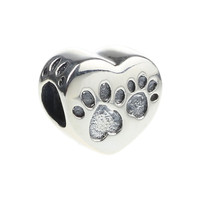 Wholesale 925 Sterling Silver Charm Puppy Dog Paw Print Heart Shape Bead