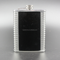 8oz stainless steel wine flask with leather covered