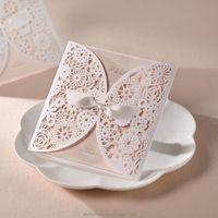 Wedding Invitation card white flower laser Cut cover BH2065