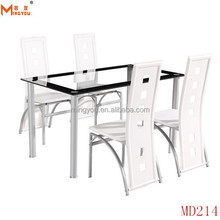 Modern Glass Dining Room Table Set and 4 Chairs White or Lime