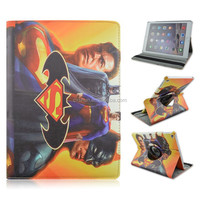 Superhero Superman PU Leather Smart Tablet Case For iPad air 2, Rotary Fold Stand Cover Case For iPad 6