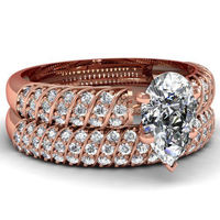 Fashion rose gold plated with AAAAA white sapphire setting wedding ring set women gold engagement ring