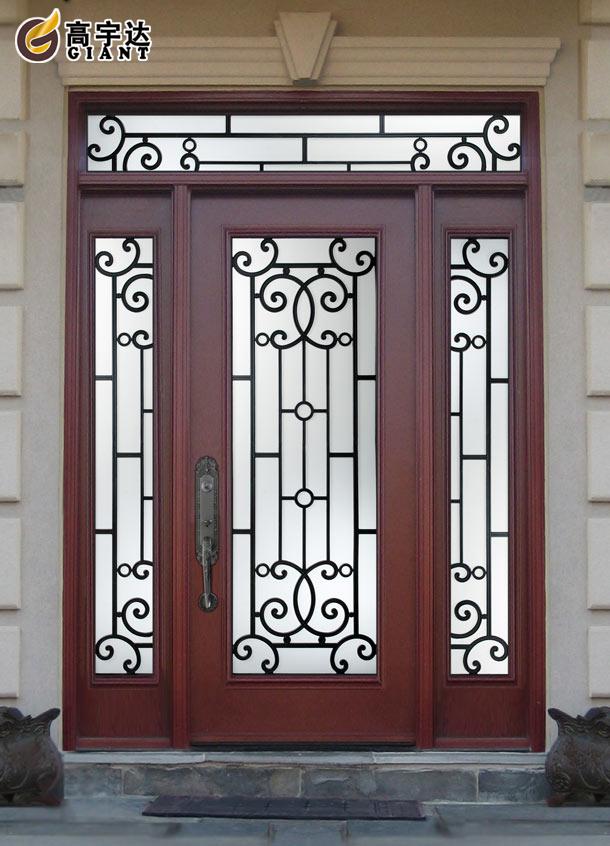 Outdoor elegant wrought iron double entrance door iron for Entrance grill door designs