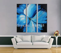 3 piece decorative art set modern wall art The morning glory flower at night abstract hand painted Oil Painting on Canvas