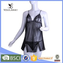 New Arrival Sexy Slit Polyester Matching Thong Ladies Sexy Night Wear