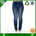 diseño de tela vaquera lavada de la grasa de las niñas y las mujeres más el tamaño de los pantalones vaqueros