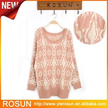 Trendy Long Pullover Women Sweater Full Of Knitted Pattern