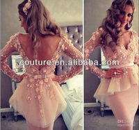 2013 Fall Sexy V-Neck Long Sleeve Appliques Lace Ruffle Mini Breathtaking Celebrity Dresses 2014 Spring XT-022