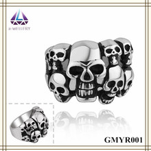 Yiwu Jewelry King And Queen Engagement And Wedding Steel Skull Ring