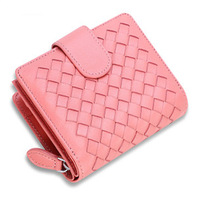 Sheepskin weave wallet short paragraph purse European and American leather wallet for women