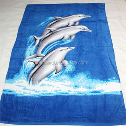 100% Cotton Velour Beach Towel Bag With Reactive Printing