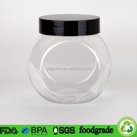 500ml ball shaped clear PET plastic toy gift box / christmas gift container with bright black screw cap