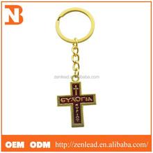 Promotion Cheap 3D Custom Metal Blank Cross Keychains Metal