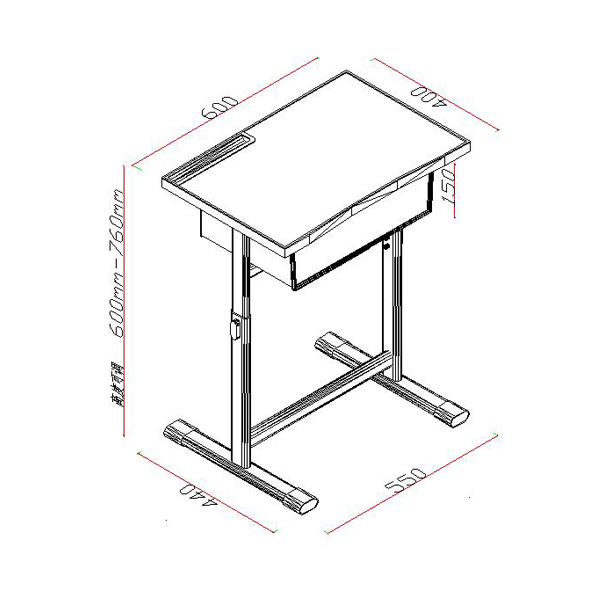 Export bags for school - Size Desk Dimension L600mm W400mm Height Adjustable