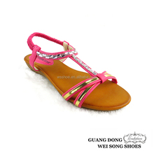 Wholesale open toe small wedge beautiful ornament fashion 2015 summer sandal