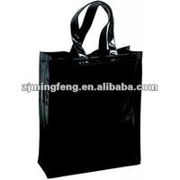 black PVC shopping handle bag