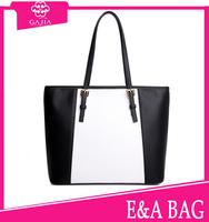 Hot! 2015 latest fashion white and black simple shoulder bag designer lady/women purse and handbags high quality leather handbag
